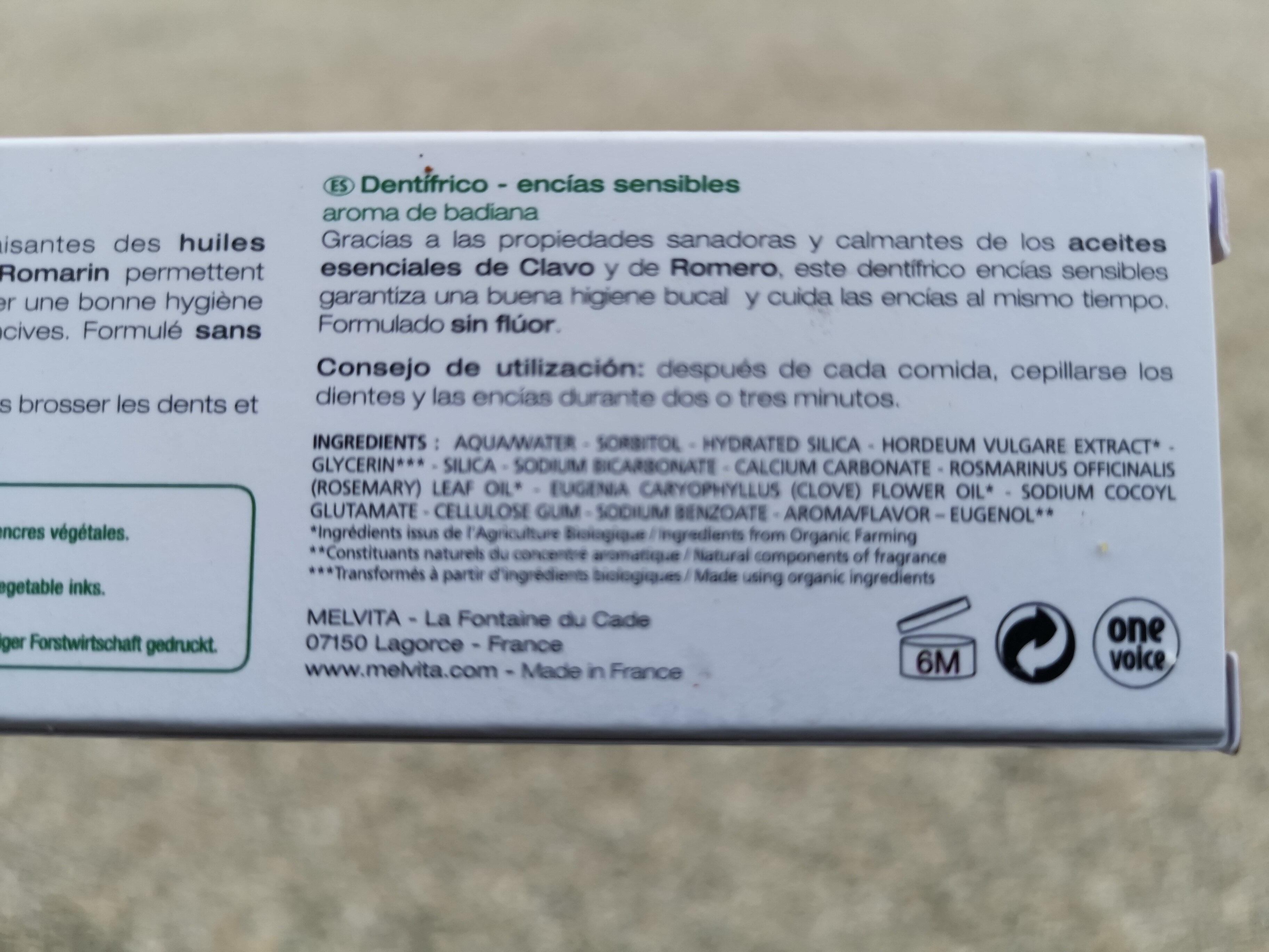 DENTIFRICE gencives sensibles - Ingredients - fr