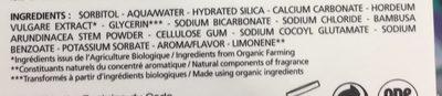 Dentifrice Dents Blanches Bio - 75 ML - Melvita - Ingrédients
