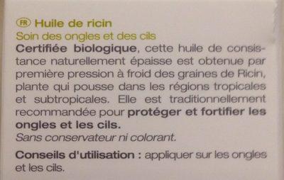Huile Végétale Ricin Bio - 50 ML - Melvita - Ingrédients - fr