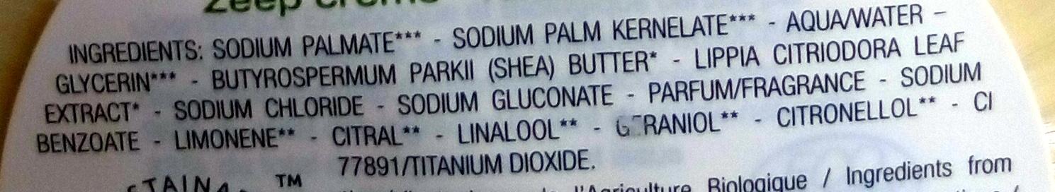 Savon crème feuilles de verveine - karité - Ingredients - fr