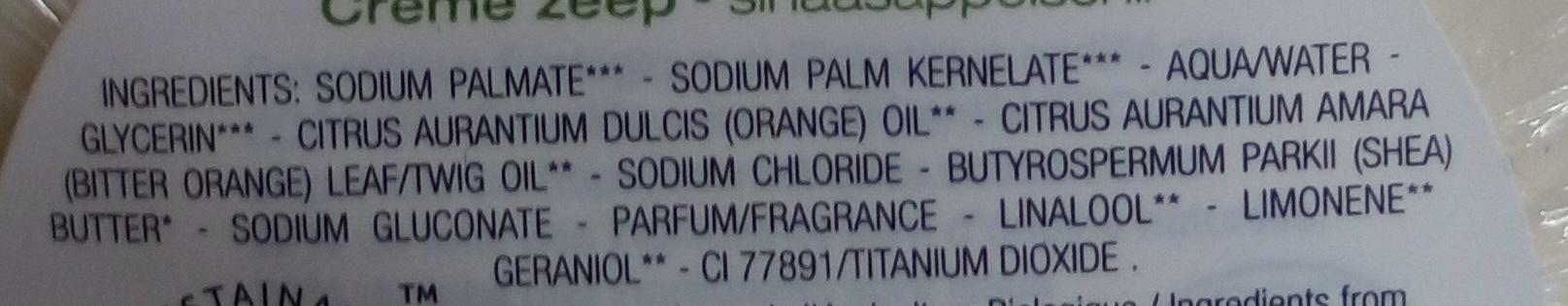 Savon crème écorce d'orange - karité – orange – petit grain - Ingredients - fr