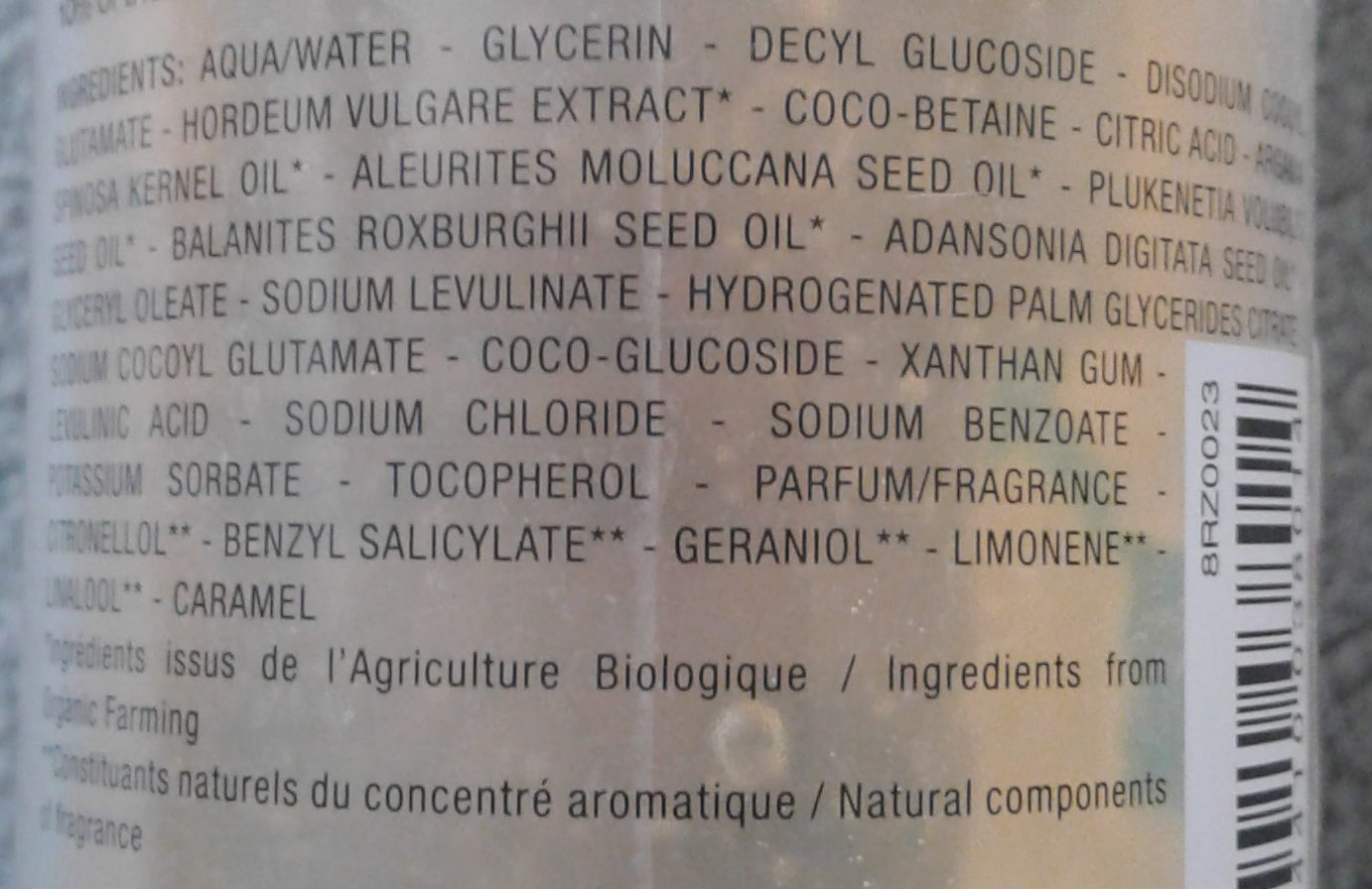 L'or bio douche extraordinaire - Ingredients