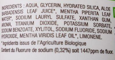 Dentifrice fraîcheur naturelle - Ingredients