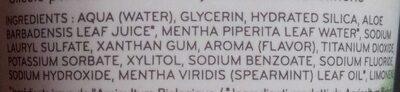 Dentifrice fraîcheur naturelle - Ingrédients