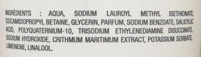 Gel douche purifiant à l'extrait de criste marine bio des Charentes - Ingredients - fr