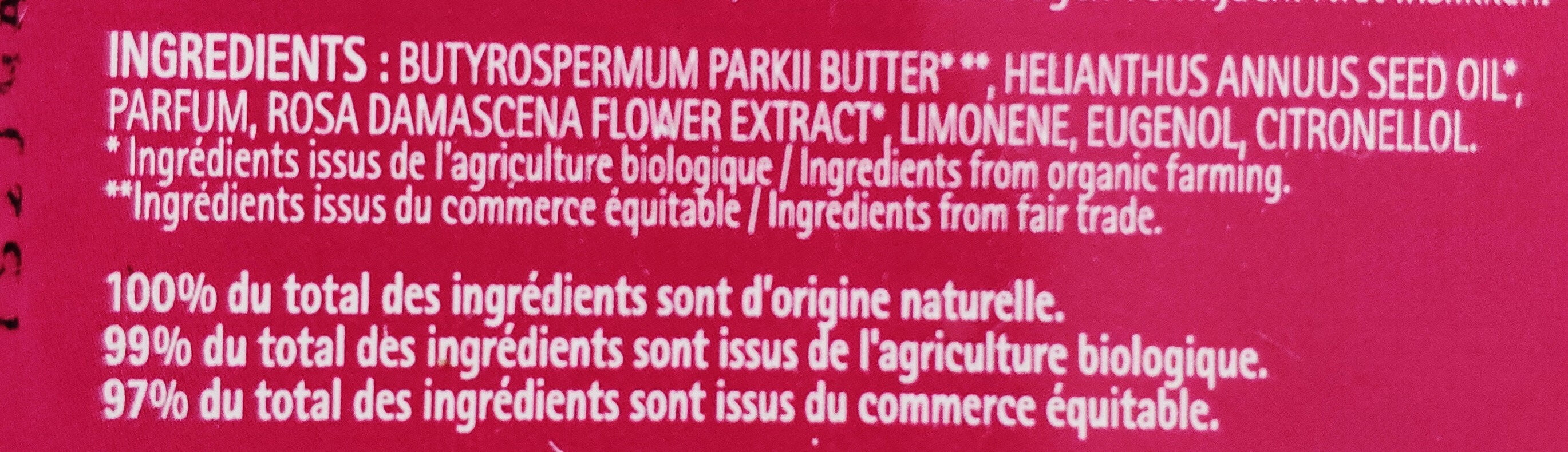 Baume karité rose de Damas - Ingredients - fr
