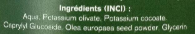 Savon pâte naturel à l'huile d'olive et aux noyaux d'olive broyés - Ingredients