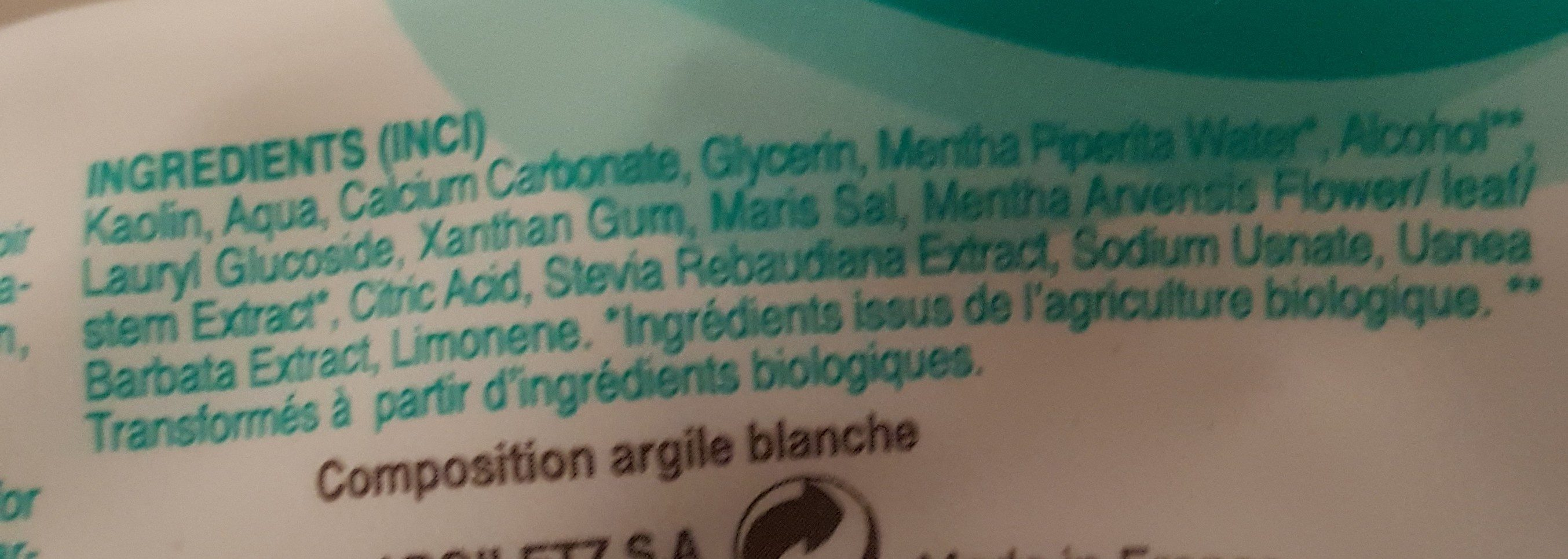 Dentifrice Bio Menthe - 75 ML - Argiletz - Ingredients - fr