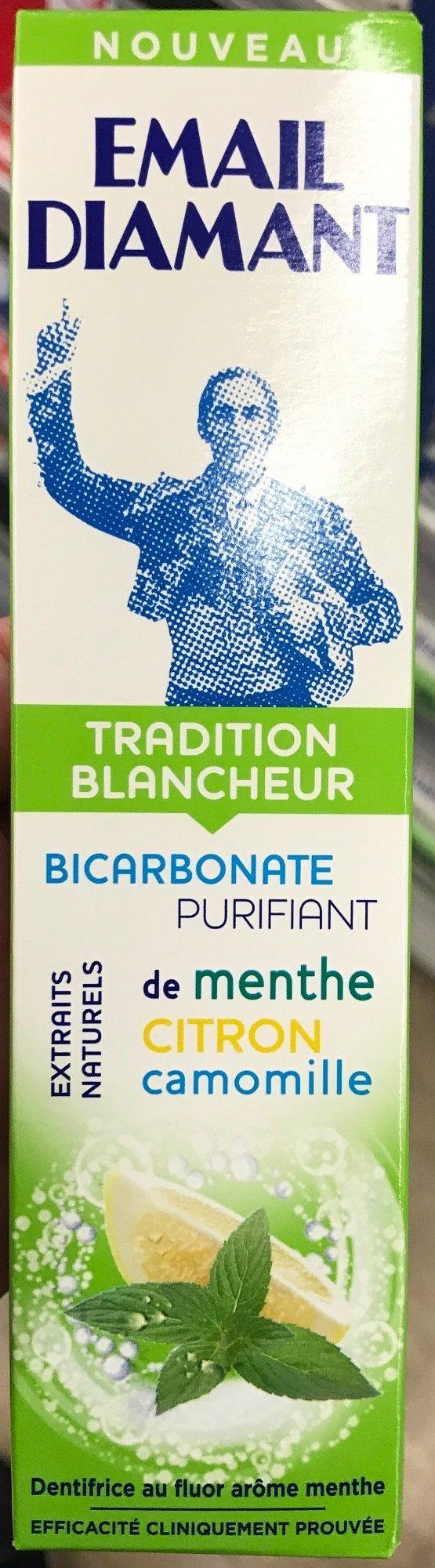 Tradition Blancheur Bicarbonate Purifiant, Extraits naturels de Menthe, Citron, Camomille - Produit
