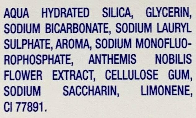 Tradition Blancheur Bicarbonate Purifiant, Extraits naturels de Menthe, Citron, Camomille - Ingrédients - fr