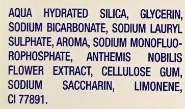 Tradition Blancheur Bicarbonate Purifiant, Extraits naturels de Menthe, Citron, Camomille - Ingrédients