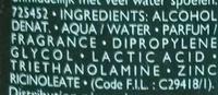Déodorant vaporisateur ultra-frais - Ingrédients