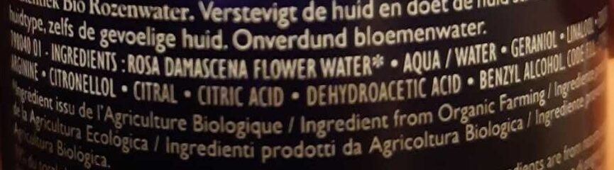 Véritable eau florale - Ingredients