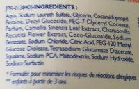 Gel douche micellaire sans savon Thé blanc & camomille - Ingredients