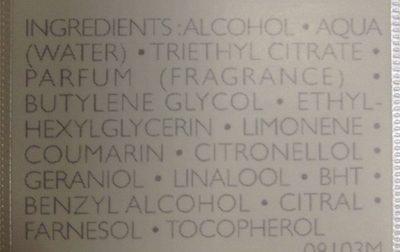 Déodorant parfumé - Ingredients
