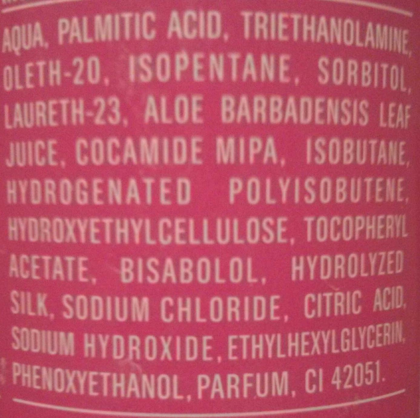 Gel à raser à l'extrait d'aloe vera - Ingredients - fr