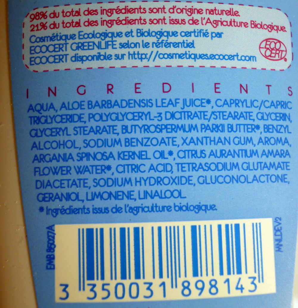 Lait démaquillant Monoprix Bio - Ingredients - fr