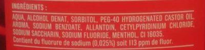 Bain de bouche multi-protection antiplaque - Ingrédients