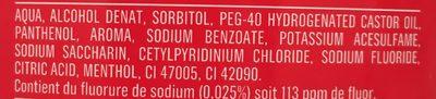Bain de bouche dents et gencives - Ingredients