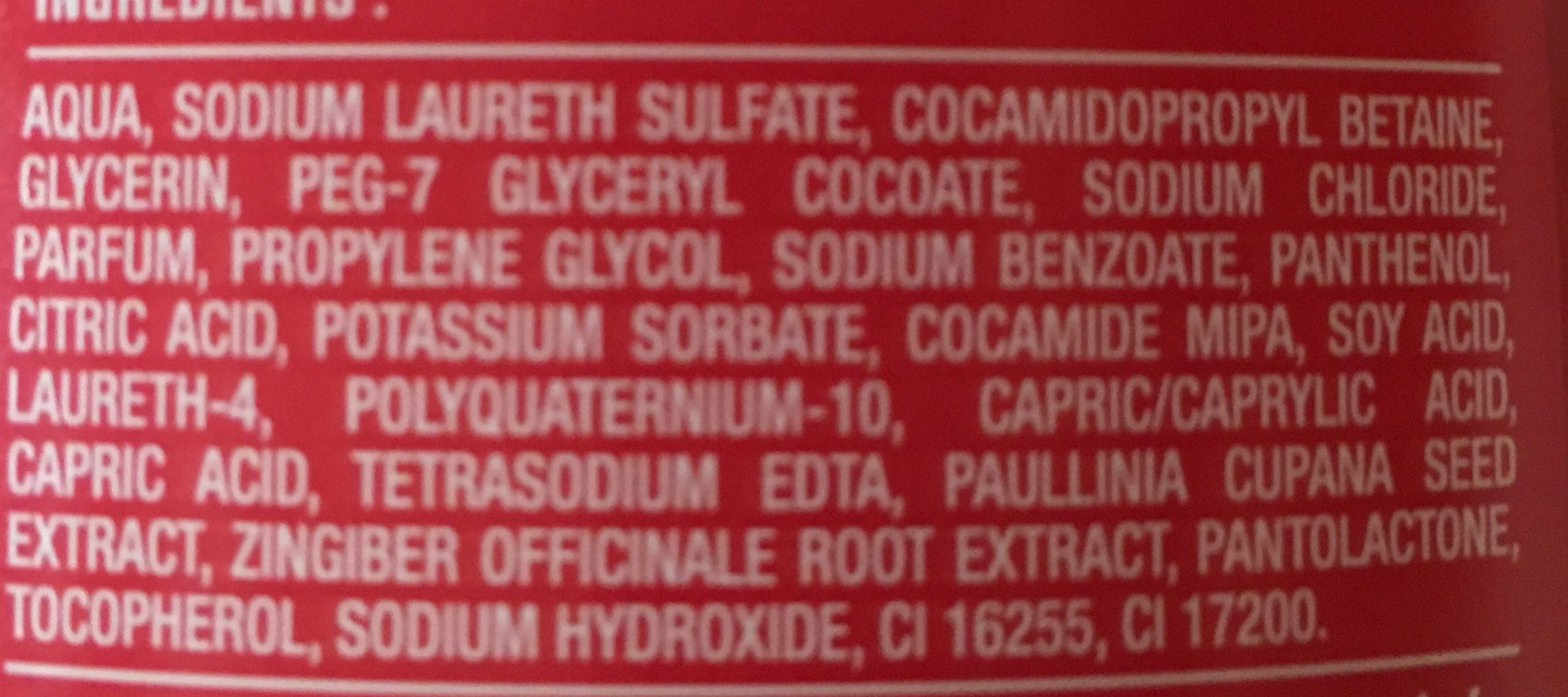 Gel douche Guarana Gingembre - Ingredients