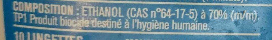 Lingettes antibactériennes - Ingrédients