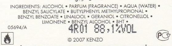 Kenzo Homme - Ingredients