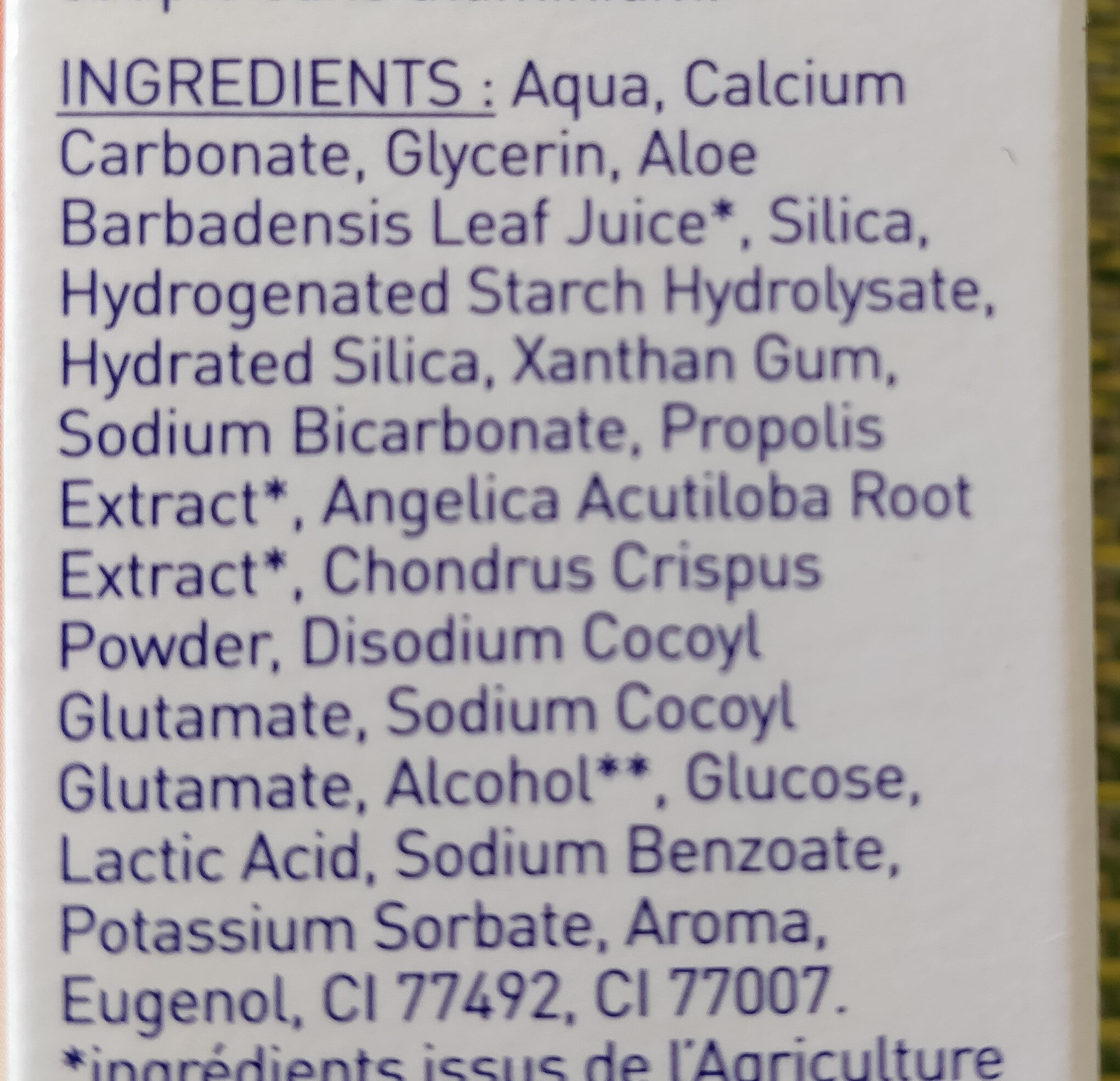 Dentifrice Propolis - Ingredients