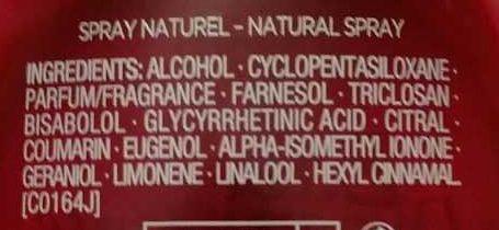 Eau dynamisante - Ingredients