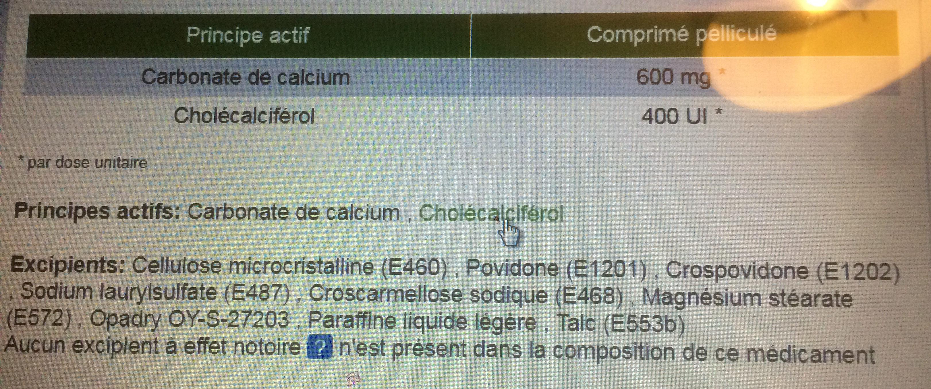 Caltrate vitamine D3 - Ingredients - fr