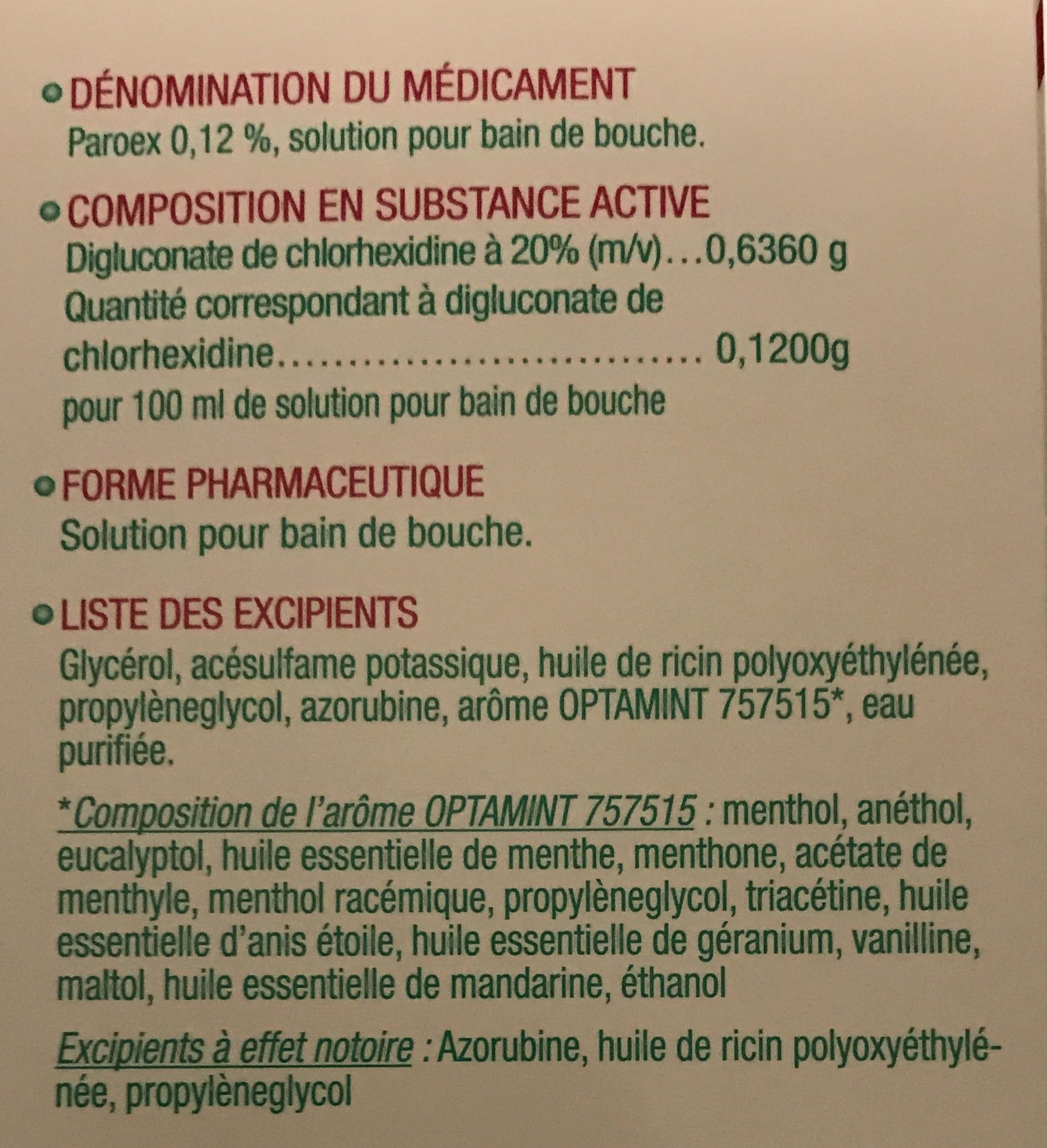 Solution pour bain de bouche - Ingredients - fr