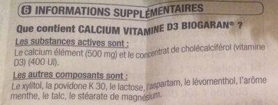 Calcium vitamine D3 - Ingredients - fr