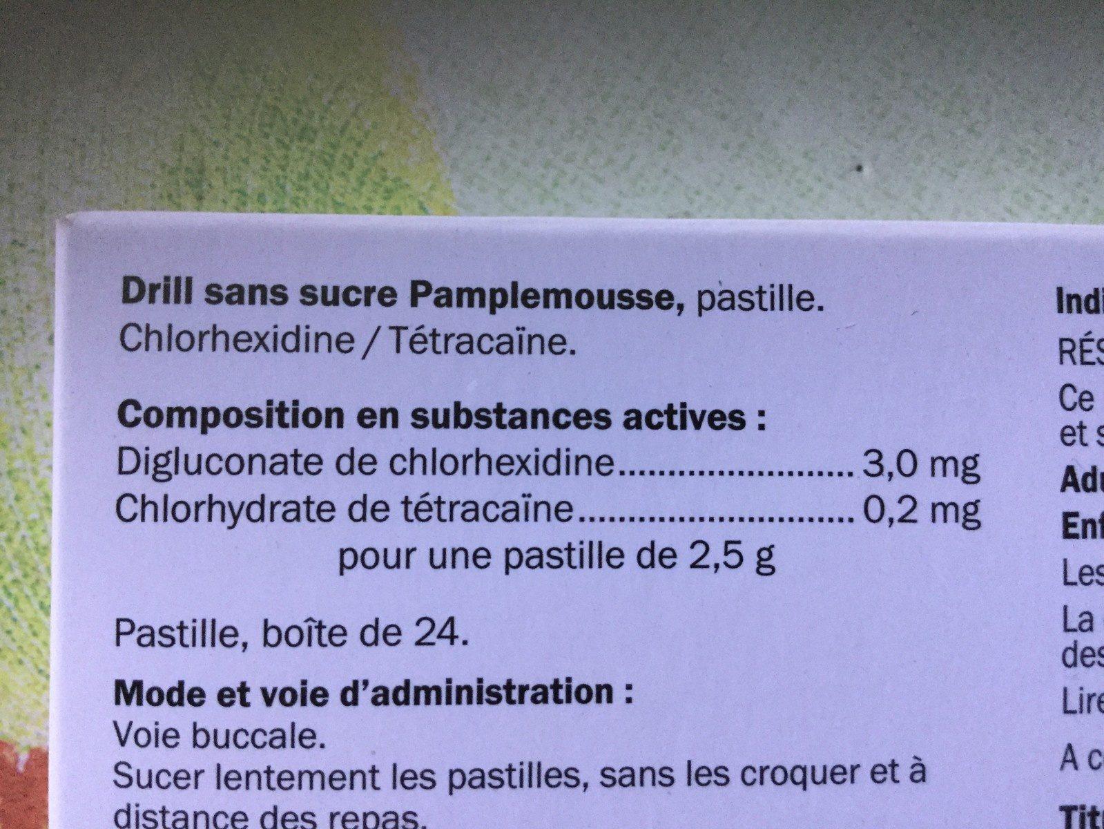 Drill Sans Sucre Pamplemousse X24 - Ingredients - fr