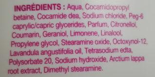 Saforelle soin lavant doux toilette intime et corporelle - Ingredients