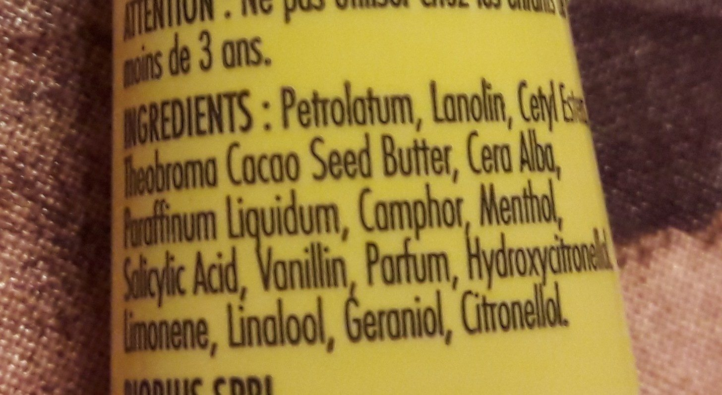 Carmex Baume Hydratant Levres Tube - Ingredients