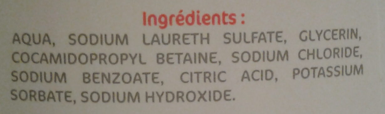 Gel douche dermoprotecteur - Ingredients