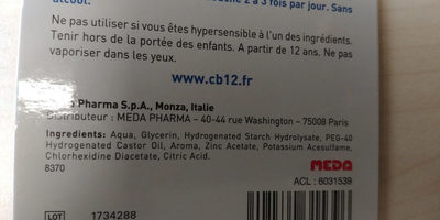 Cb12 spray - Ingrédients