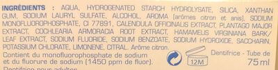 homéodent soin complet dents et gencives citron - Ingrédients - fr