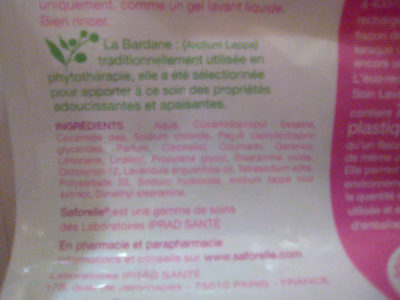 Soin lavant doux - Eco recharge - Ingredients