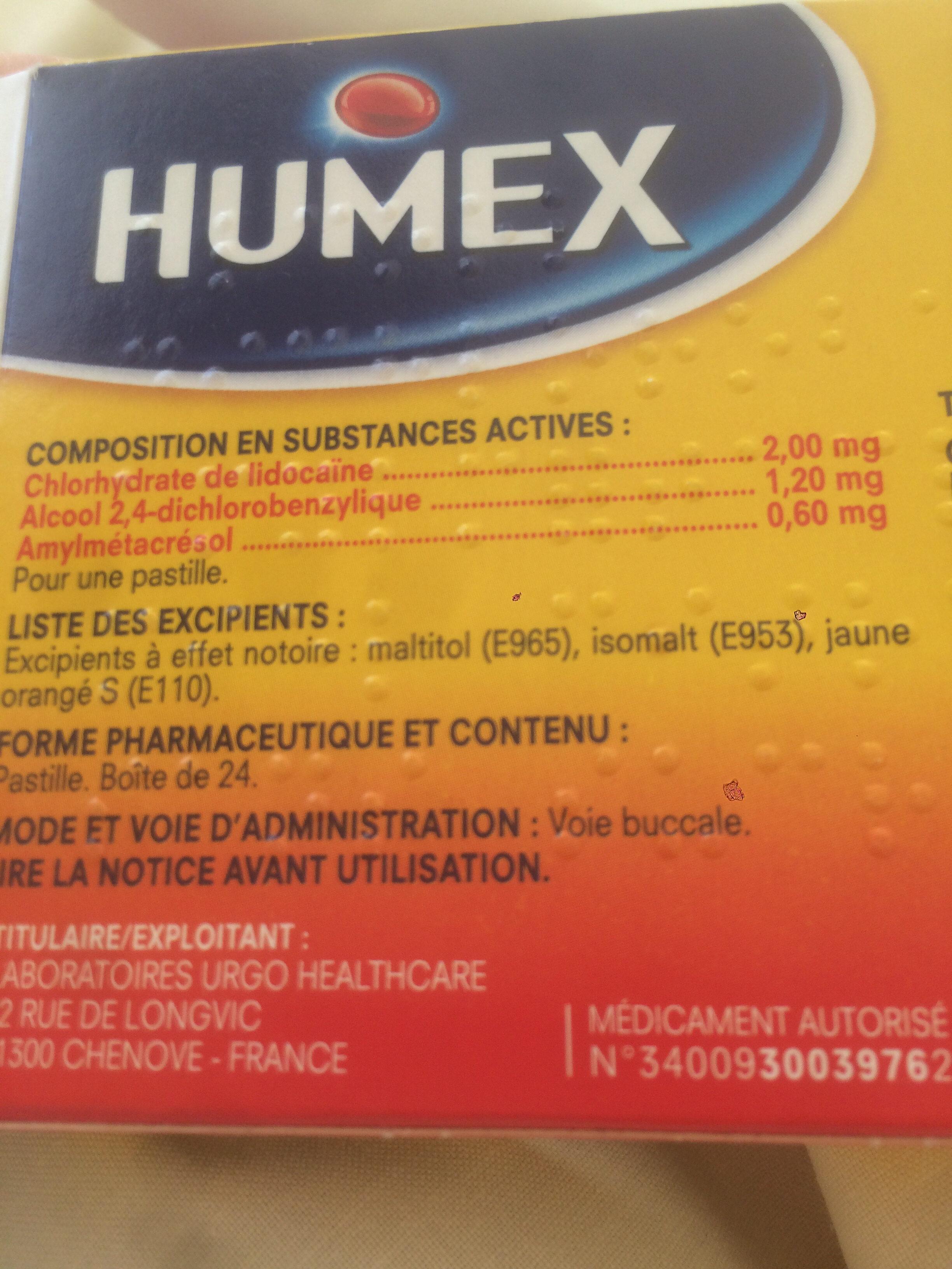 Humex mal de gorge - Ingrédients - fr