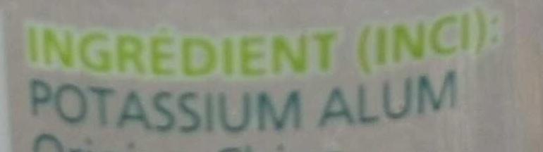 Déodorant doux Pierre d'Alun de Potassium 24H - Ingredients