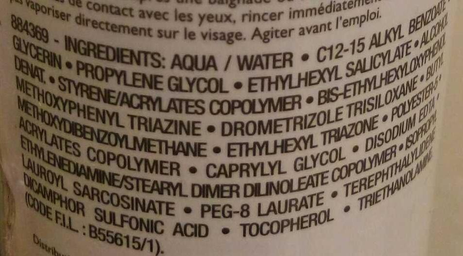 Anthelios XL - Ingrédients - fr
