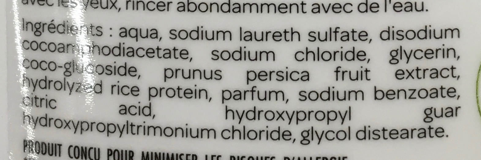 Shampooing douche soin enfants - Ingredients