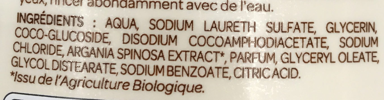 Crème douche Nourissante aux extraits d'Argan bio - Ingrédients - fr