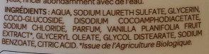 Crème douche relaxante aux extraits de Vanille Bio de Madagascar - Ingredients