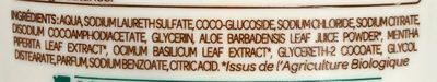 Crème lavante mains Fraîcheur aux extraits de Menthe Bio et Basilic Bio - Ingrédients - fr