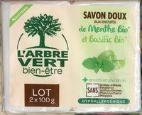 Savon Doux aux extraits de Menthe Bio et Basilic Bio (Lot de 2) - Produit - fr