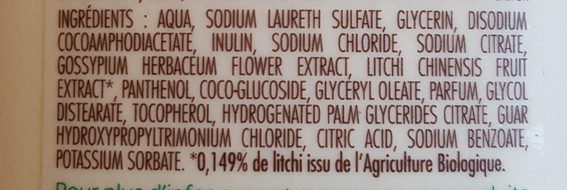 Shampooing L'arbre vert Douceur fleurs de coton & extraits de litchi - Ingredients