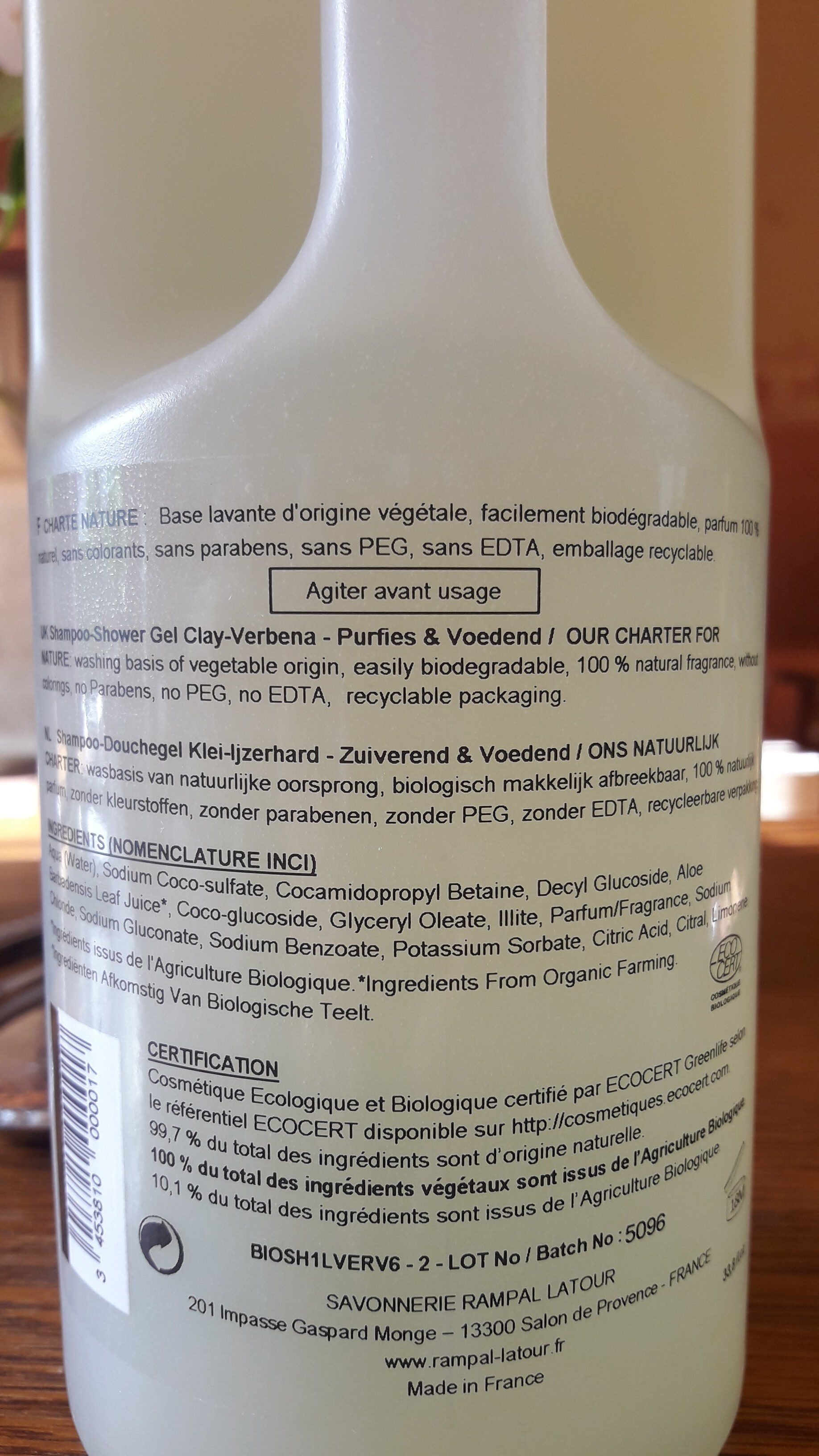 shampoing douche Geneviève  PATOU - Ingredients
