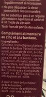 Dermideal Complexe Zinc Bardane - 30 Comprimés - Dietaroma - Ingrédients