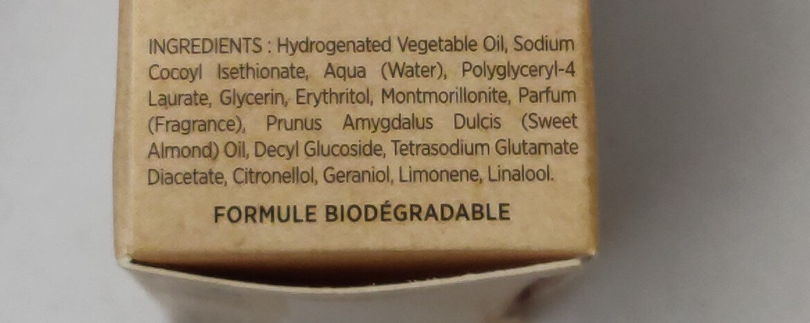 Shampooing solide - Ingredients - fr